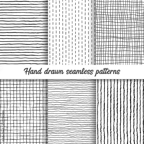 Cuadros en Lienzo Set of vector hand drawn checkered seamless pattern, messy striped endless ornament
