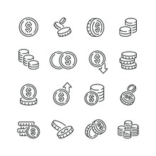 Coins Related Icons: Thin Vector Icon Set, Black And White Kit