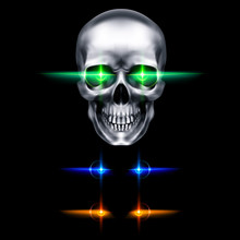 Human Metallic Skull With Green Glowing Eyes. The Concept Of Death, Horror. A Symbol Of Spooky Halloween. Isolated Object On A Black Background, Can Be Used With Any Image