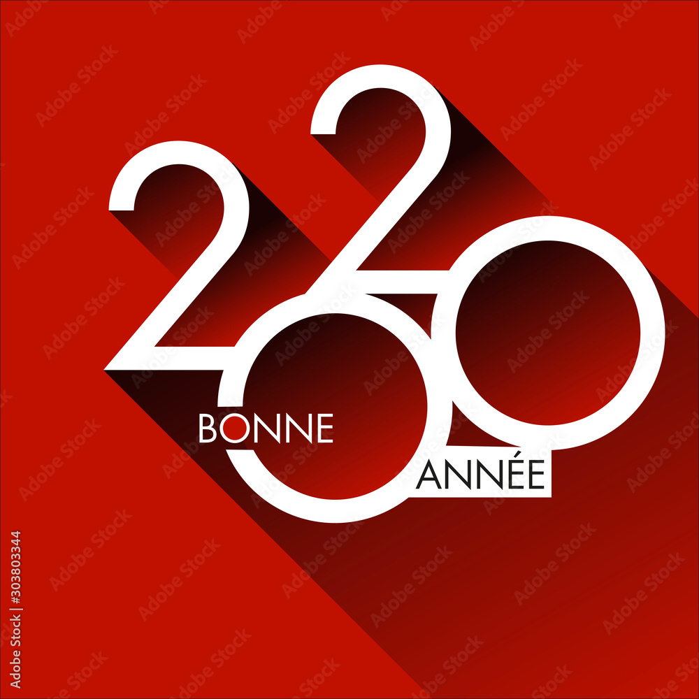 Fototapeta Carte de vœux design pour 2020, avec un graphisme moderne et original sur un fond rouge, pour annoncer les projets et les orientations de l'entreprise pour nouvelle année.