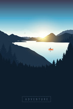 Lonely Canoeing Adventure With Orange Boat At Sunrise On The River Vector Illustration EPS10