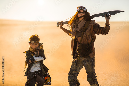 Post apocalyptic Woman and Boy Outdoors in a Wasteland Canvas Print