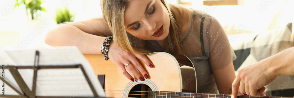 Fototapety, obrazy: Guitar Playing Lesson Music Education Concept