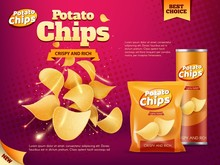 Potato Chips Bag And Tube Box. Snack Food Packages
