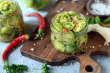 Pickled Green Tomatoes With Herbs, Horseradish, Pepper And Garlic