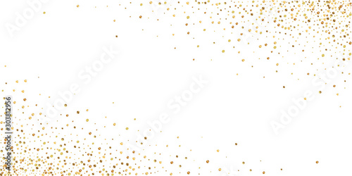 Obraz Gold confetti luxury sparkling confetti. Scattered - fototapety do salonu