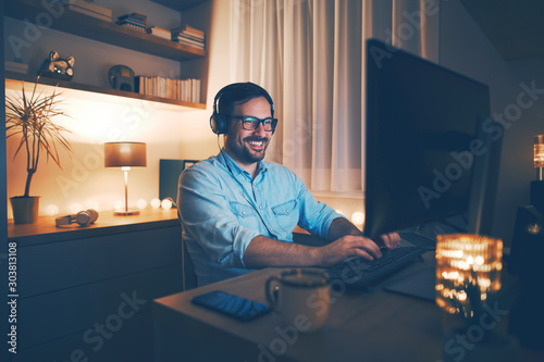 Working remotely from home Canvas Print