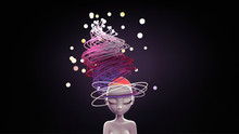 Head Of Young Woman With Colorful Abstract Hair And Flying Glowing Bubbles. Concept Art Thinking Inside Your Head Of A Creative Idea. Girl Doing Meditation. 3d Illustration. Female Mind, Mental Health