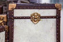 Retro Old Genuine Leather Textured Background With Closed Vintage Belt Buckles