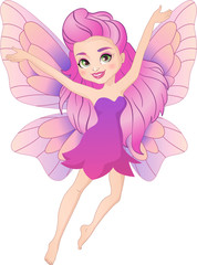 Illustration of a cute pink spring fairy in flight. Beautiful cartoon girl with wings.