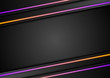 Futuristic corporate technology abstract background with orange violet neon glowing lines. Vector graphic design