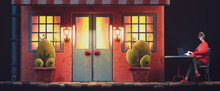 Yellow Light From The Windows With Curtains Late In The Evening. Young Guy Sits At An Outdoor Cafe Table Chatting At His Laptop. Red House With Blue Wooden Door, Plants. 3d Illustration Night Scene.