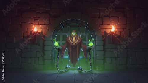 Cuadros en Lienzo  Prisoner in a dark medieval dungeon with stone walls, large metal jail door and torches