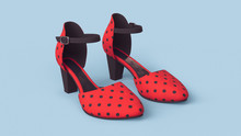 Pair Of Female Summer Red Shoes With Black Polka Dots On Blue Background. Concept Art Women's Shoes. Vintage Retro Sandals With Black Strap And Black Insole. Fashion Style Footwear. 3d Illustration