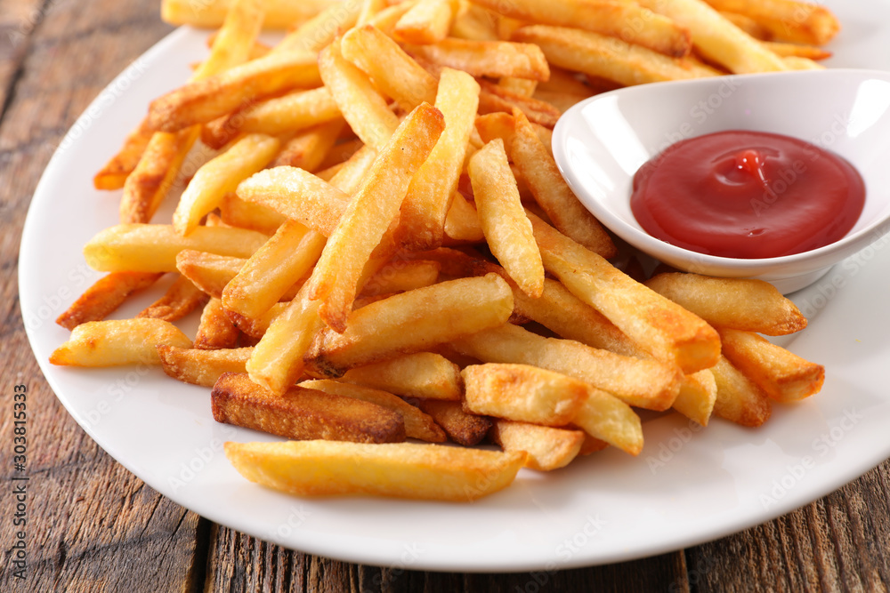 Fototapety, obrazy: french fries and ketchup on plate