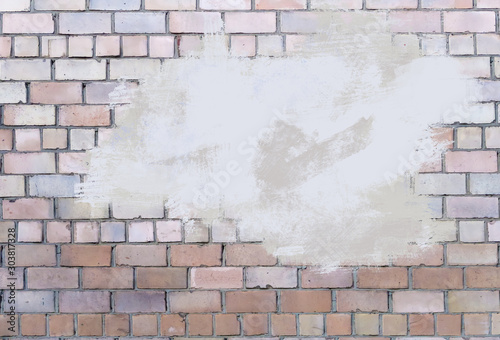 Wallpaper Mural Texture of old long brick, seamless patern of clinker brick, multicolored old