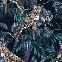 Colorful Floral Night Pattern With Tiger Leopard And Exotic Tropical Leaves Illustration. Fashion Ornament On Dark Background.
