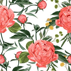 Panel Szklany Podświetlane Peonie Floral Seamless Pattern with Coral Orange Peonies and herbs. Spring Blooming Flowers on White Background