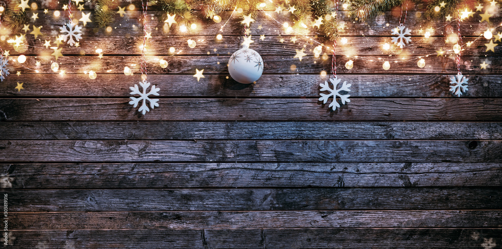 Fototapeta Christmas rustic background with wooden planks