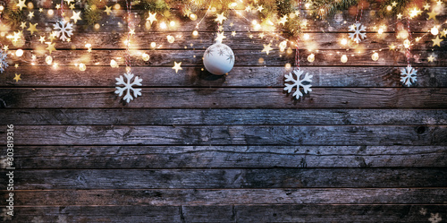 Obraz Christmas rustic background with wooden planks - fototapety do salonu