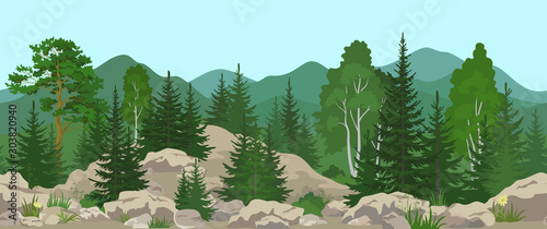 Fotografia Seamless Horizontal Summer Mountain Landscape with Pine, Birch and Fir Trees, Green Grass and Yellow Flowers on the Stone Rocks