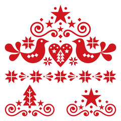 Xmas scandinavian folk art vector design set - Christmas single patterns collection, cute floral ornament with birds, snowflakes and Christmas trees