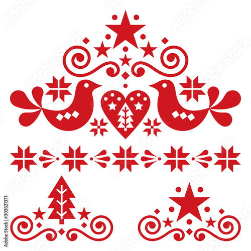 Fotografie, Tablou  Xmas scandinavian folk art vector design set - Christmas single patterns collect