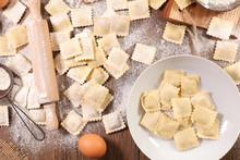 Raw Ravioli With Ingredient, Preparation Of Homemade Ravioli