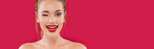 Smiling Naked Beautiful Woman With Red Lips Winking Isolated On Red, Panoramic Shot