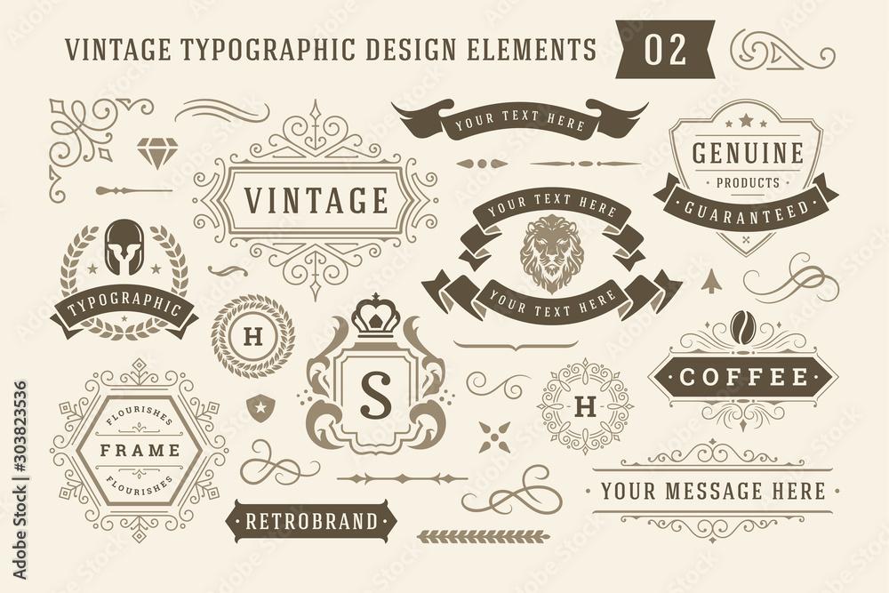 Fototapeta Vintage typographic design elements set vector illustration.