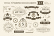 Vintage typographic design elements set vector illustration.