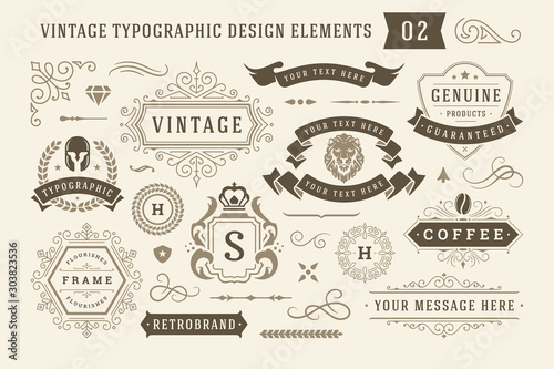 Fotomural  Vintage typographic design elements set vector illustration.