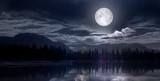 Fototapeta Landscape - full moon over the lake