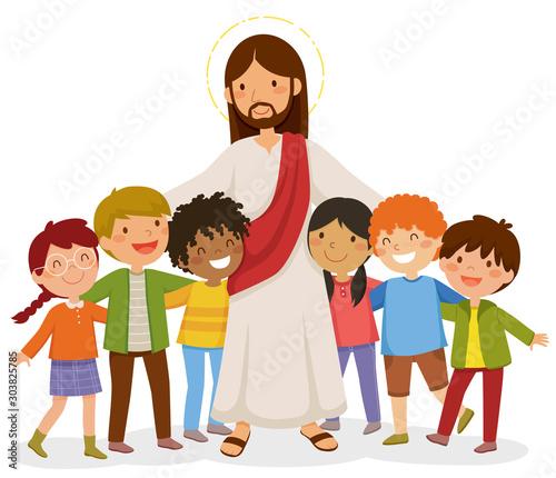 Cartoon Jesus standing and hugging happy kids - 303825785