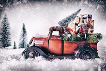 Winter Greeting Card With Red Vintage Truck