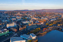 An Aerial View At Sunrise Of Newport City Centre, South Wales United Kingdom, Taken From The River Usk