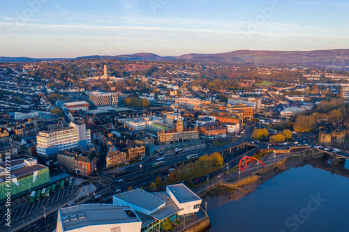 An aerial view at sunrise of Newport city centre, south wales United Kingdom, ta Wallpaper Mural