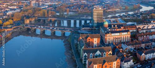 Fotografia An aerial view at sunrise of Newport city centre, south wales United Kingdom, ta