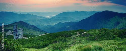 Fotografie, Obraz  Mountain sunrise panorama
