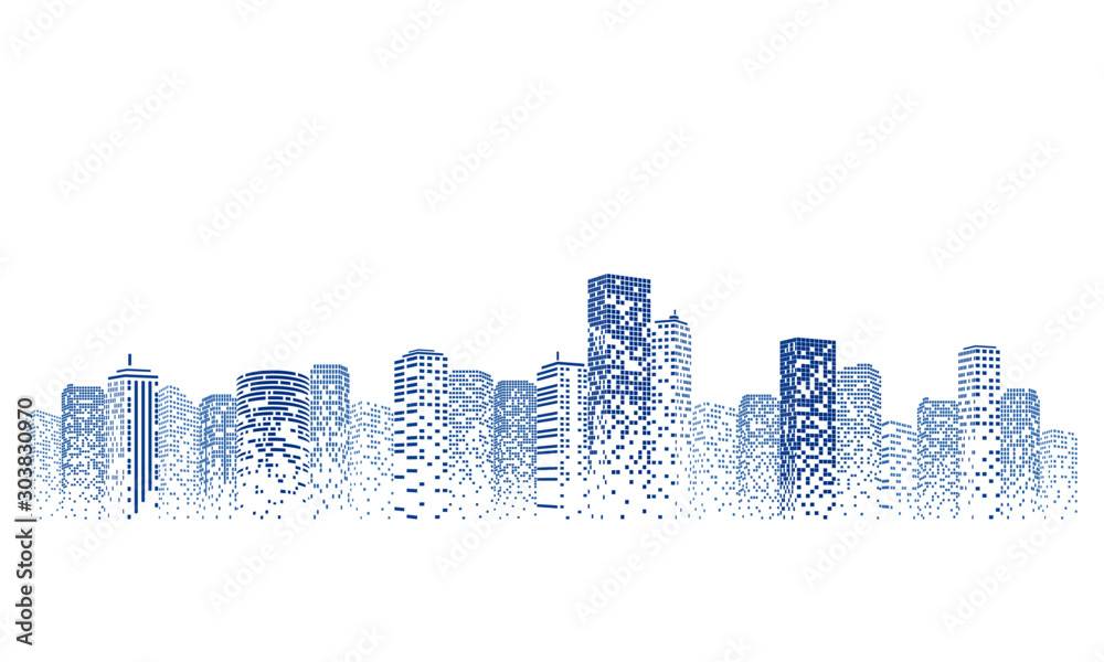 Fototapety, obrazy: Silhouette city scape Isolated or white background. Modern flat design. Futuristic technology concept. Vector illustration.