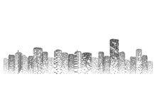 Silhouette City Scape Isolated...