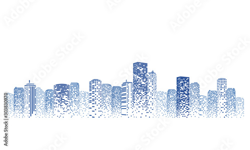Silhouette city scape Isolated or white background. Modern flat design. Futuristic technology concept. Vector illustration. - 303830970