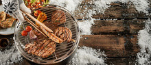 Barbecue In Winter Concept Wit...