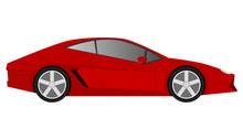 Red Sports Car On White Background, Vector.