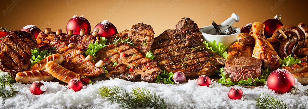Fototapeta Grilled meat in winter holiday banner