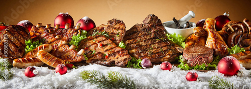 In de dag Steakhouse Grilled meat in winter holiday banner