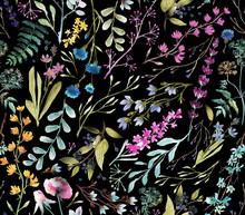 Watercolor Flowers. Seamless Watercolor Pattern.