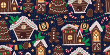 Vector Seamless Pattern With Gingerbread Houses. Endless Background With Traditional Christmas Objects And Symbols. Colorful Holiday Design For Wallpaper, Paper Wrap, Fabric, Textile, Surfaces.