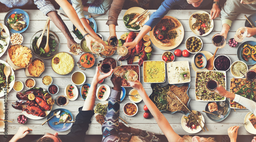 Fototapety, obrazy: Friends Happiness Enjoying Dinning Eating Concept
