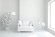 Leinwandbild Motiv Mock up of stylish room in white color with armchair. Scandinavian interior design. 3D illustration